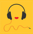 headphones with red cord and lips music card flat vector image vector image
