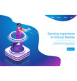 isometric gaming experience in virtual reality vector image vector image