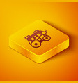 isometric line western stagecoach icon isolated on vector image vector image