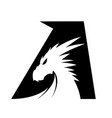 letter a dragon head - black vector image vector image