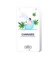 man smoking cannabis with bong marijuana vector image vector image