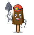 miner chocolate ice cream mascot cartoon vector image vector image