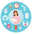 mother with newborn baby in hands equipment vector image
