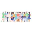 multi ethnic people in protection masks vector image