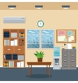office workspace bookshelf cabinet table plant vector image vector image