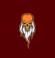old man skull beard with mascot logo design vector image