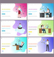 online business woman boss sitting working place vector image
