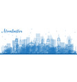 outline manchester skyline with blue buildings vector image vector image