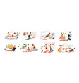 people doing exercises with dumbbell squat vector image vector image
