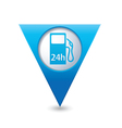 petrol station 24h BLUE triangular map pointer vector image vector image