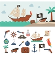 Pirate icons set vector image vector image