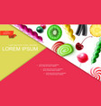 realistic sweet products composition vector image vector image