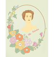 Retro a card the girl in a frame with flowers vector image