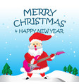 santa play rock guitar and merry christmas cartoon vector image vector image