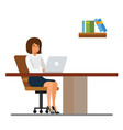 secretary working in office at desk cartoon flat vector image