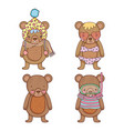 set bear with hat and swimsuit with water mask vector image vector image