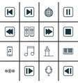 set of 16 audio icons includes skip song rewind vector image vector image