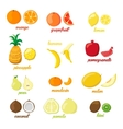 Set of colorful cartoon fruit icons pear orange vector image vector image