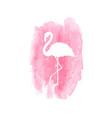 Silhouette flamingo on pink watercolor spot