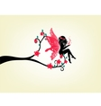 Silhouette Of A Fairy And Tree vector image