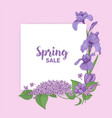 square card with spring sale lettering decorated vector image