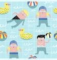 summer childish seamless pattern with cute boys vector image