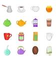Tea and coffee set cartoon style vector image vector image