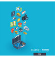 travel integrated 3d web icons growth and vector image vector image
