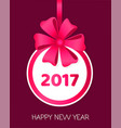 2017 happy new year round banner with ribbons vector image