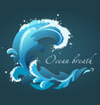 a blue wave with foam drops and splashes vector image vector image