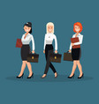 a group of women in white shirts vector image