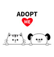 adopt me dog cat face head hands paw holding line vector image vector image