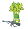 army celery character cartoon style vector image vector image