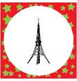 black 8-bit tokyo tower vector image vector image