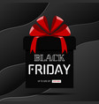 black friday sale banner gift box on black curve vector image vector image