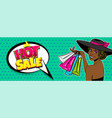 black woman hat pop art season sale bag vector image
