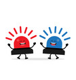 blue and red flashing warning lights and sirens vector image