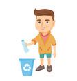 boy throwing plastic bottle in recycle bin vector image vector image