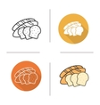 Bread flat design linear and color icons set vector image