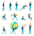 Cartoon businessman character in various poses vector image vector image