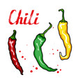 chili peppers vegetable set hand drawn sketch vector image