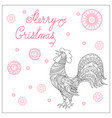 christmas card with hand drawn decorated rooster vector image