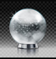 christmas snow globe transparent ball vector image