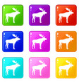 deer icons 9 set vector image vector image