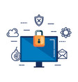 desktop with padlock and security icons vector image vector image