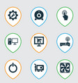 device icons set with start button software vector image