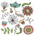 doodle color flowers and leafs collection vector image vector image