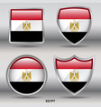 egypt flag in 4 shapes collection vector image