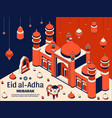 eid al adha background isometric islamic arabic vector image vector image