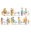 families grocery shopping together vector image vector image